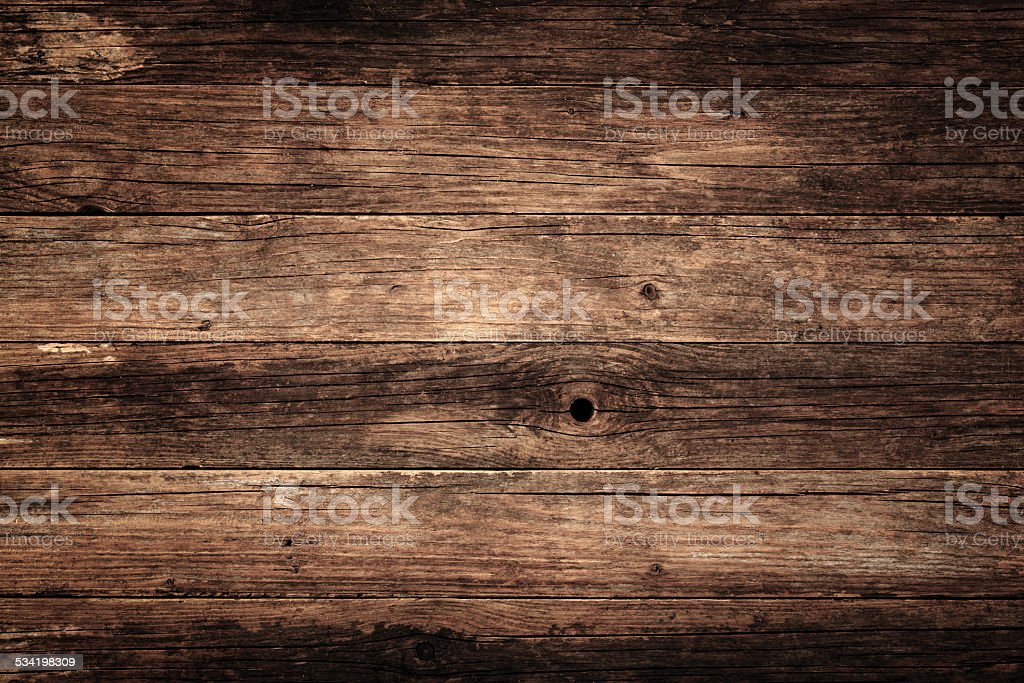 Overhead view of old wooden table stock photo