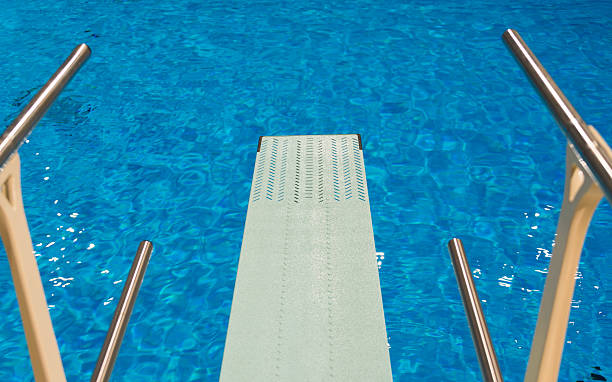 overhead view of olympic diving board stock photo