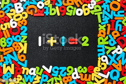 istock Overhead view of one plus 1 equals two on blackboard 852119198