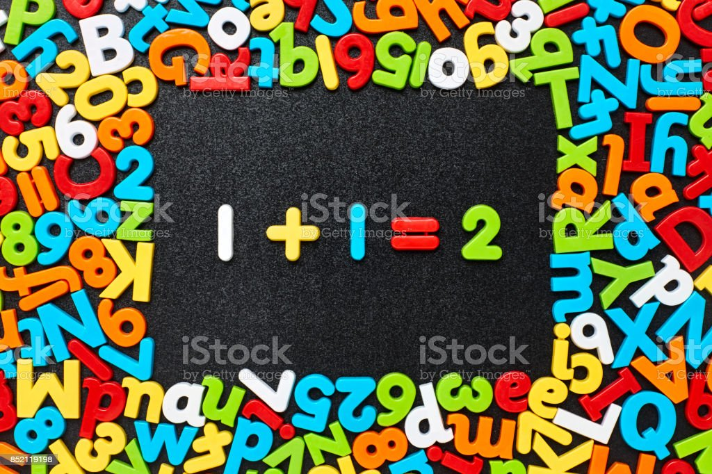 Overhead view of one plus 1 equals two on blackboard stock photo