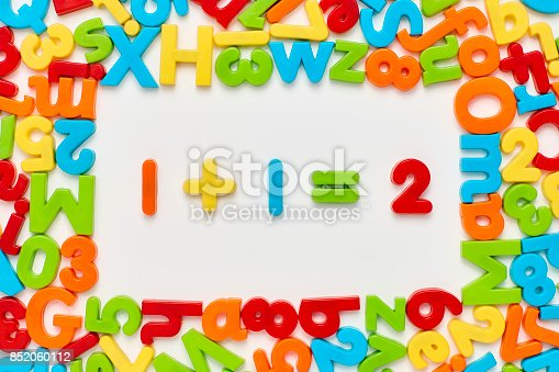 istock Overhead view of one plus 1 equals two on white 852060112