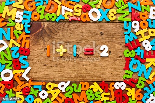 849181972istockphoto Overhead view of one plus 1 equals two on wood 849182418