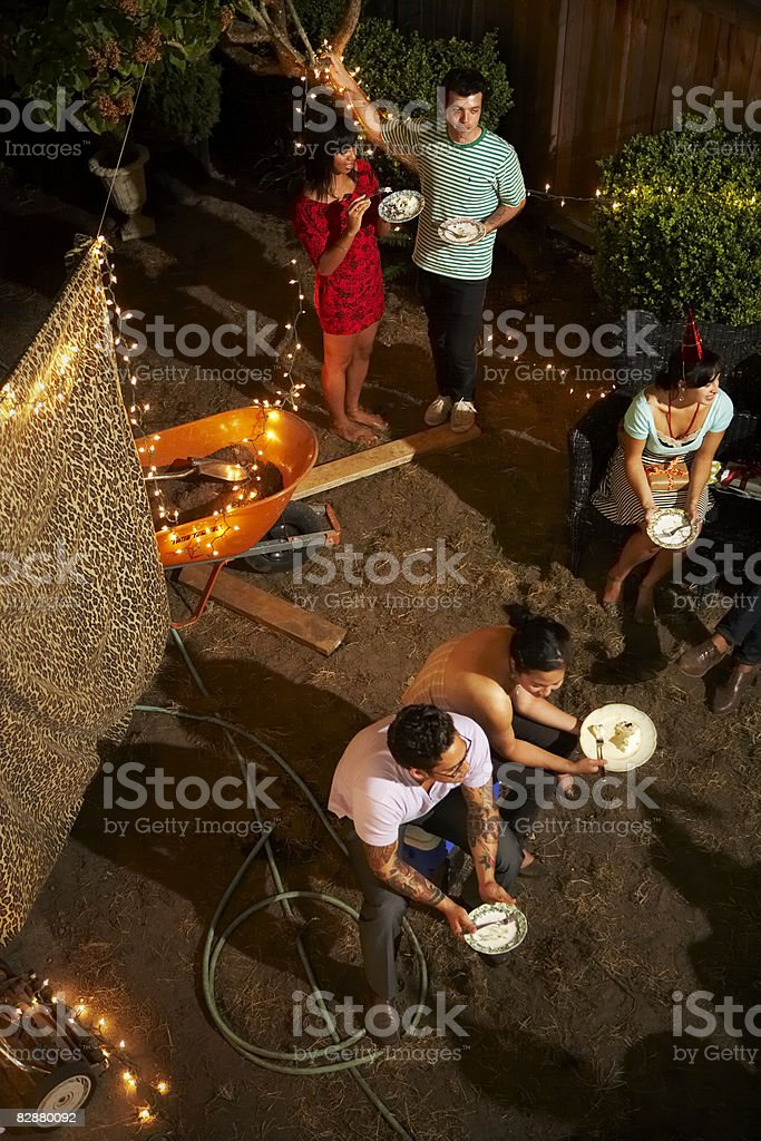 Overhead view of outdoor party royalty free stockfoto