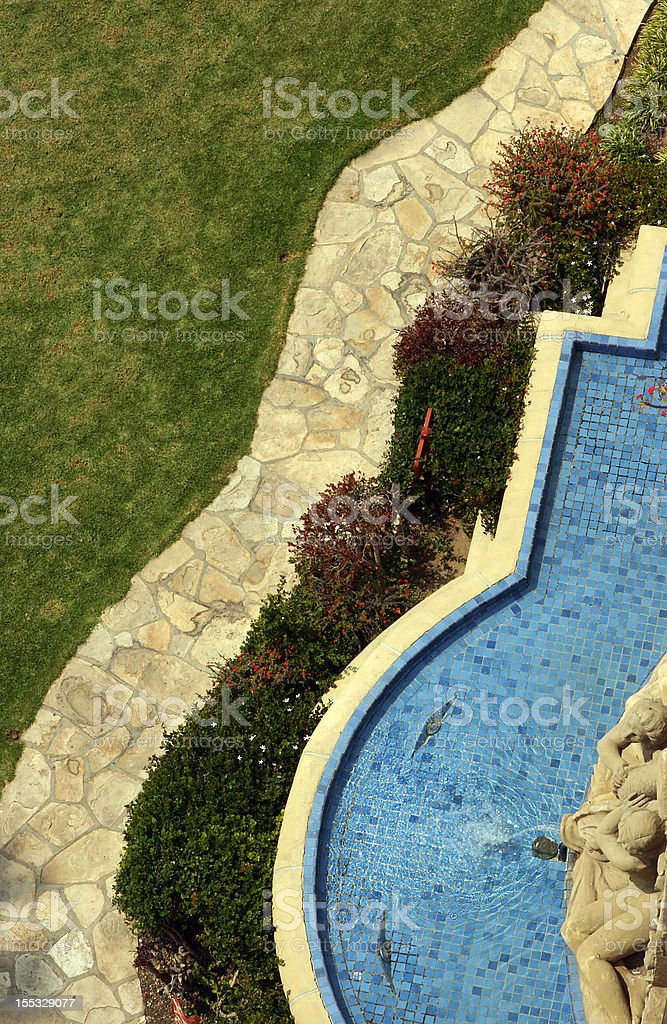 Overhead view of path and fountain royalty-free stock photo