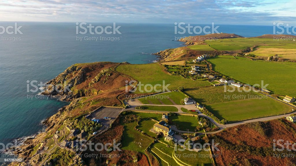 Overhead view of Peninsula and cove of Porthcurno on the southwest coast of Cornwall, England featuring the Minack Theatre stock photo