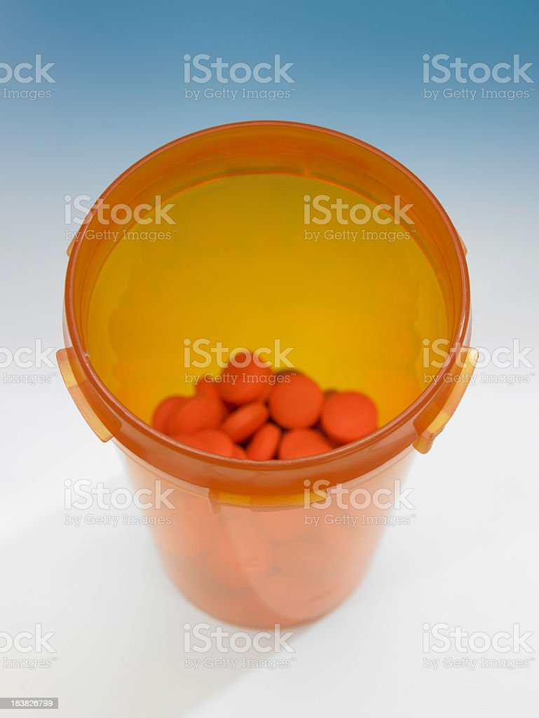 Overhead view of pill bottle royalty-free stock photo