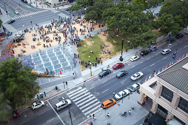 Overhead View of Plaza de Cesar Chavez Park stock photo