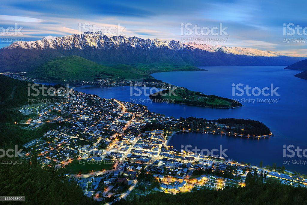 Overhead view of Queenstown and The Remarkables, New Zealand (XXXL) royalty-free stock photo