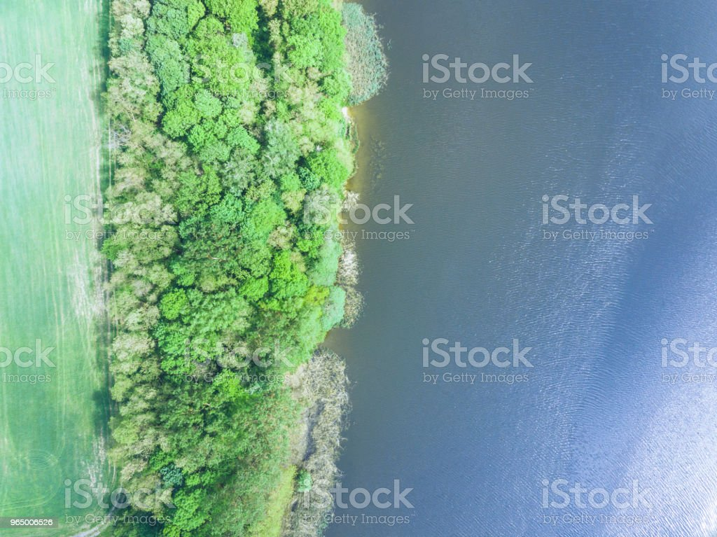 overhead view of river with river side. aerial view