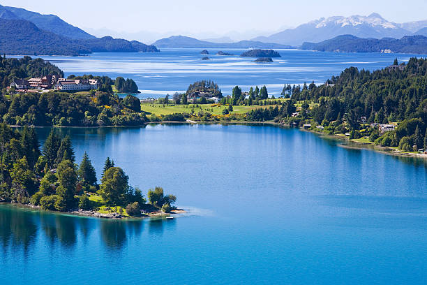 Overhead view of San Carlos de Bariloche, Argentina stock photo