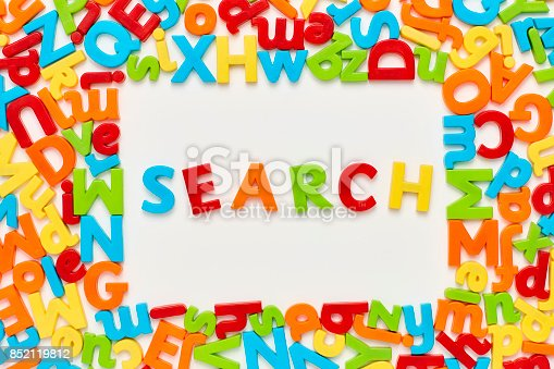849191694 istock photo Overhead view of search text amidst alphabets on white background 852119812
