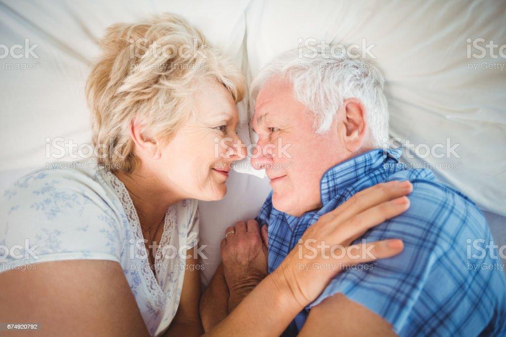 Overhead view of senior couple royalty-free stock photo