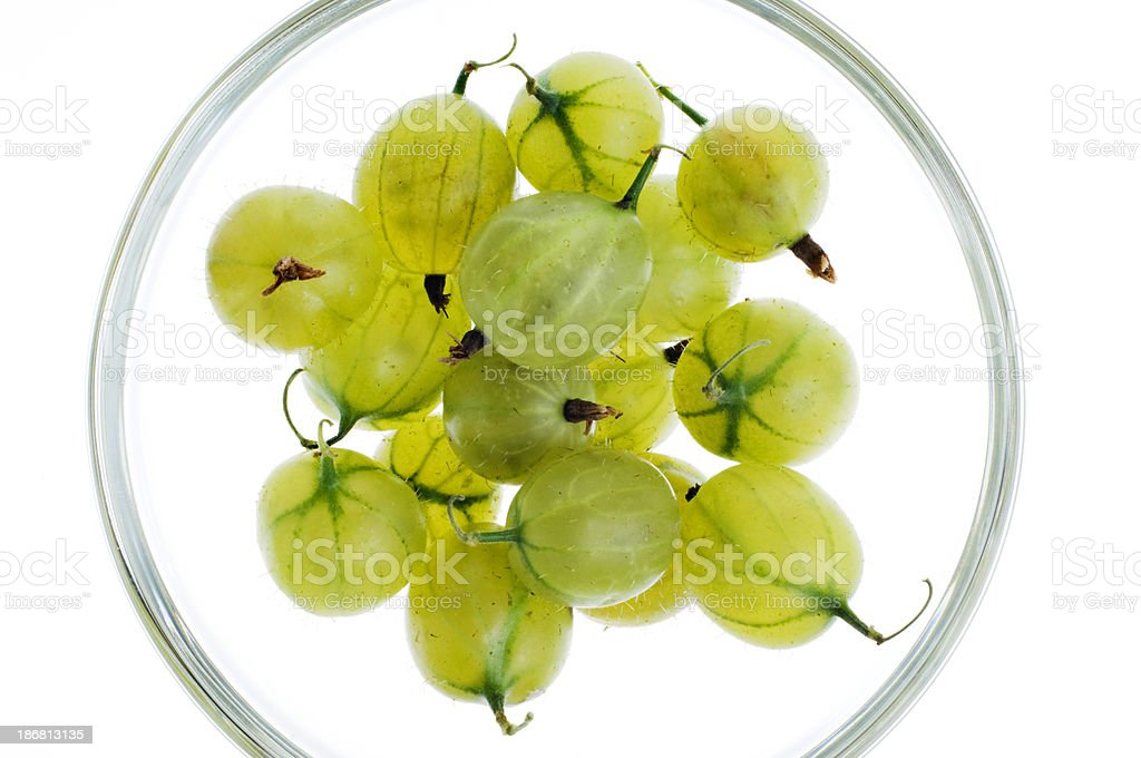 Overhead View of Some Ripe Gooseberries Isolated Against White stock photo