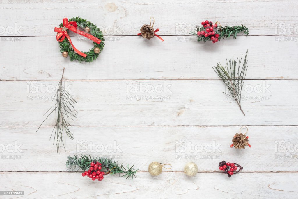 overhead view of square decorations merry christmas happy new year concept backgroundfree space - Essential Christmas Decorations