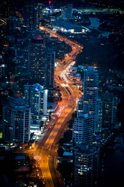 Overhead view of Surfers Paradise on Gold Coast by night stock photo
