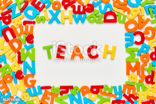 849191694 istock photo Overhead view of teach text amidst alphabets on white background 852119268