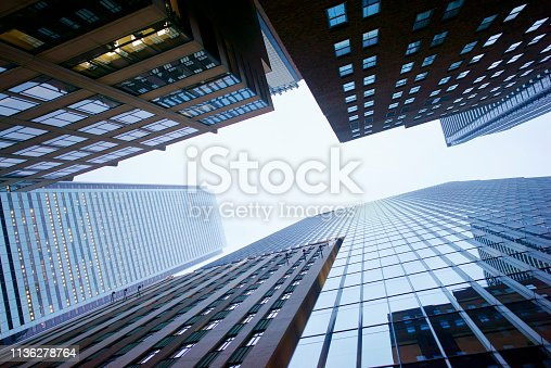 istock Overhead view of the financial district Toronto 1136278764