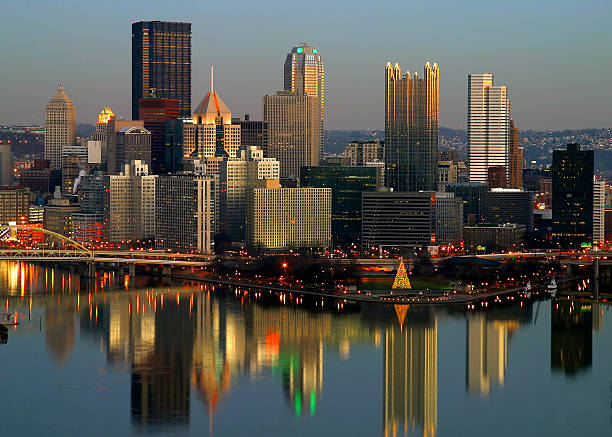Overhead view of the Pittsburgh skyline at dusk stock photo