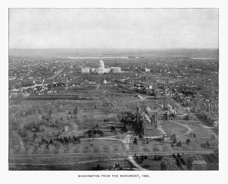 Antique American Photograph: Overhead View of The U.S. Capital, Washington, D.C., United States, 1900: Original edition from my own archives. Copyright has expired on this artwork. Digitally restored. Historic photos shows the U.S. Capitol in 1900 and was featured as part of the Washington D.C. Centennial Celebration.