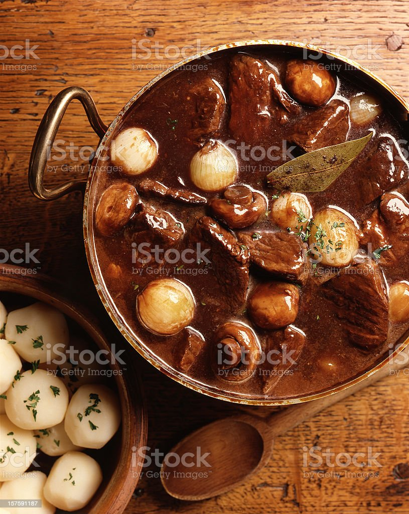 Overhead view of traditional French beef burgundy dish stock photo