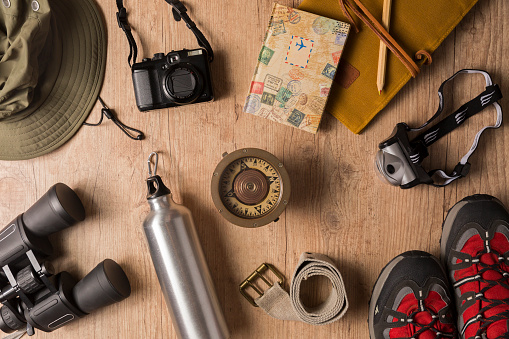 Overhead view of travel equipment for a backpacking trip.