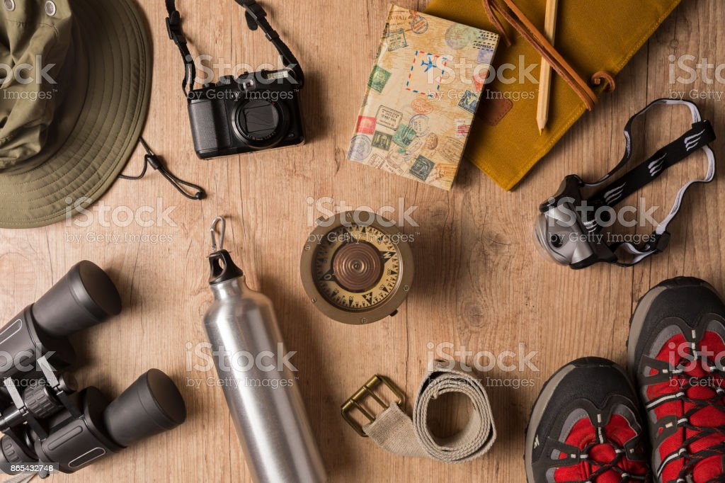 Overhead view of travel equipment for a backpacking trip. stock photo