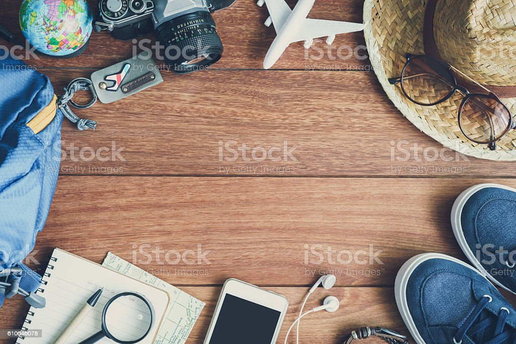 Overhead view of Traveler's accessories and items stock photo