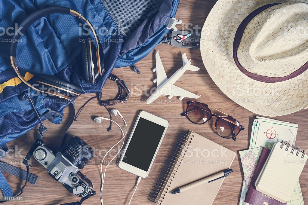 Overhead view of Traveler's accessories and items, Travel concep – Foto