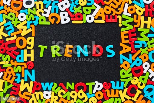 849191694 istock photo Overhead view of trends text amidst colorful alphabets on blackboard 852119454