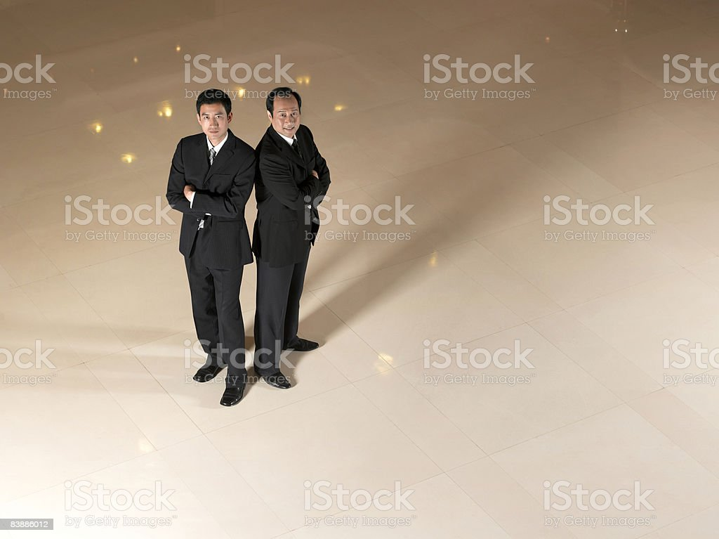 Overhead view of two businessmen. royalty-free stock photo
