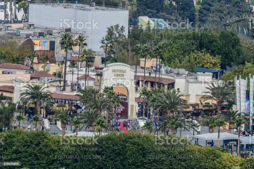 Overhead View of Universal Studios, Warner Bros Studios and Disney Studios in Los Angeles, CA stock photo