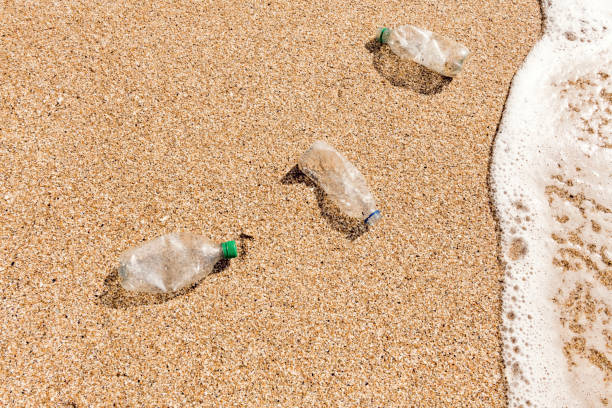 overhead view of washed up used plastic bottles on a beach. - trash stock photos and pictures