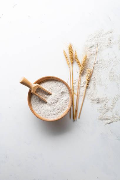 Overhead view of whole grain flour stock photo