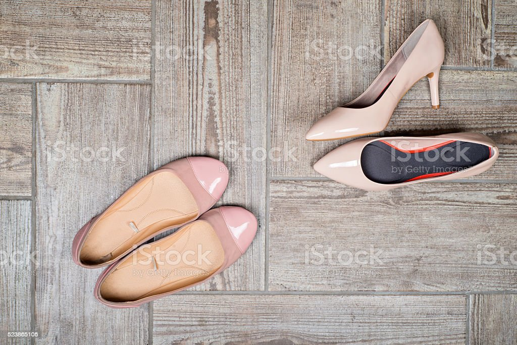 Overhead view of woman's shoes stock photo