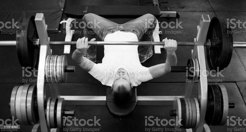 Overhead View of Young Man Weight Lifting royalty-free stock photo