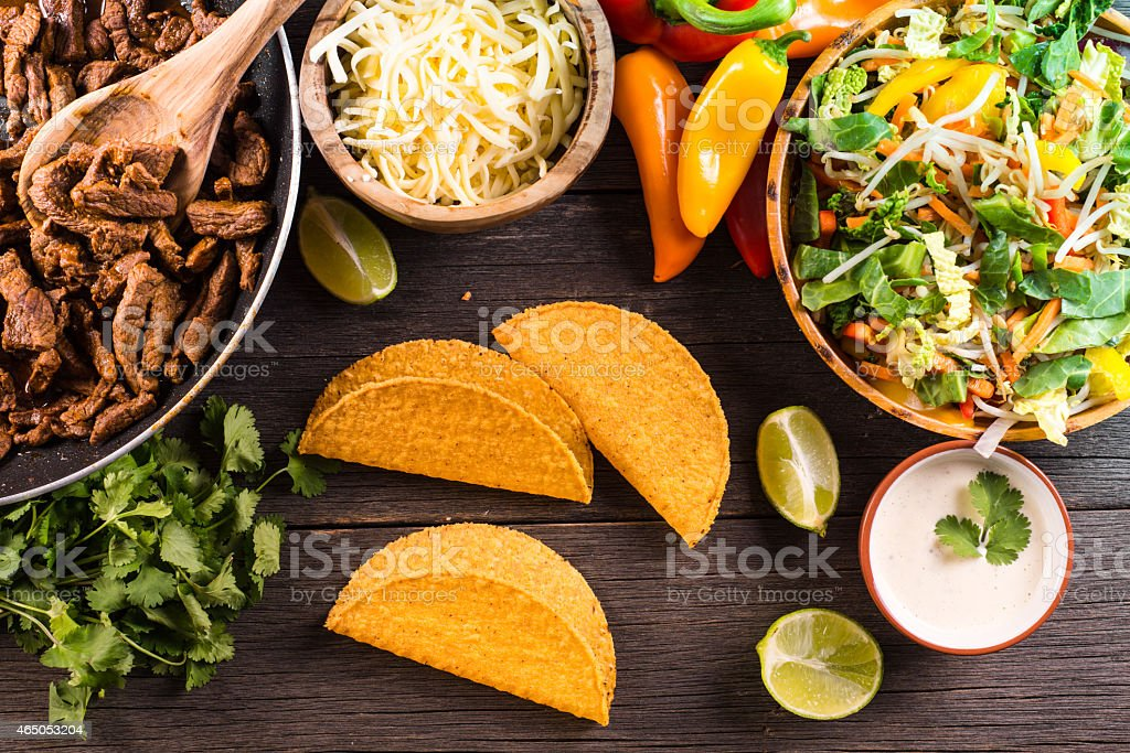 overhead view on authentic mexican street taco food stock photo