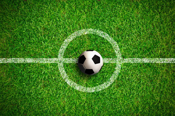 overhead view on isolated soccer ball in field - soccer league stock pictures, royalty-free photos & images