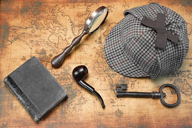 Overhead View Private Detective Tools On Map stock photo