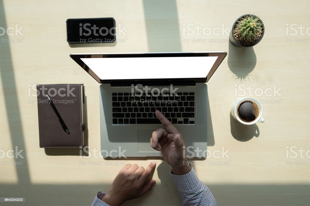 Overhead View top view man Working Desk Concept - Royalty-free Above Stock Photo
