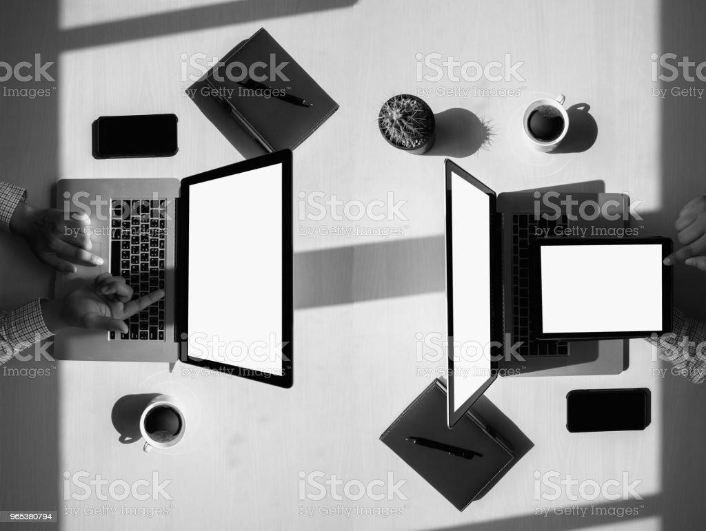 Overhead View top view man Working Desk Concept zbiór zdjęć royalty-free