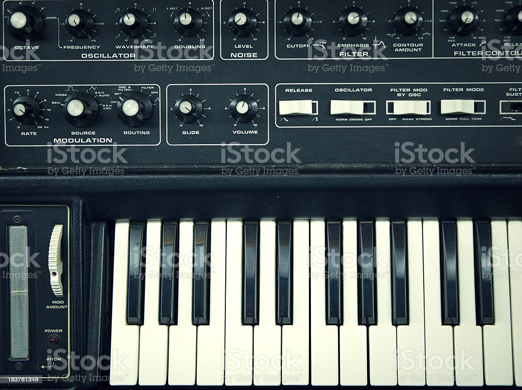 Overhead Vintage Keyboard Synthesizer stock photo