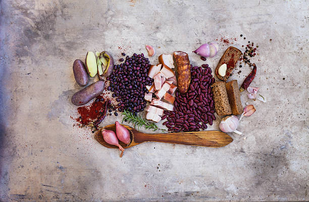 Overhead winter country ingredients. stock photo