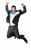istock Overjoyed Businessman Jumping - Isolated 168385267