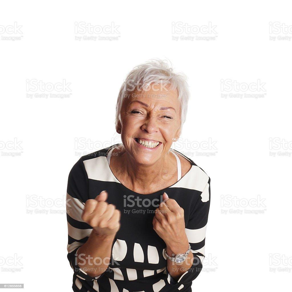 overjoyed senior woman – Foto