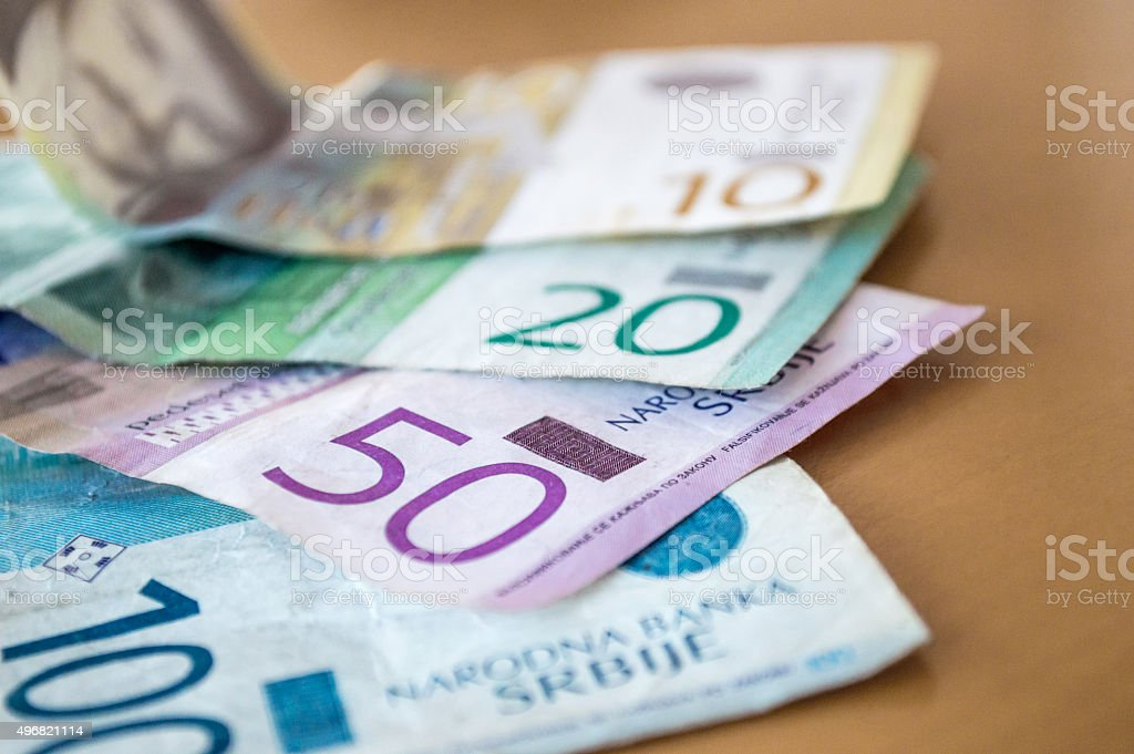 Overlapping Serbian Dinar (RSD) Bank Notes/Money stock photo