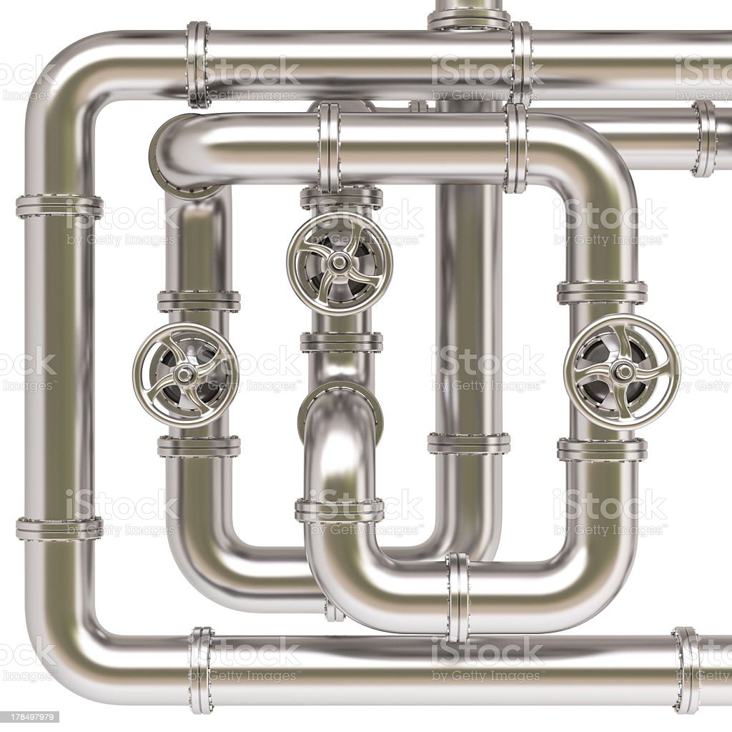 Overlapping silver pipes with valves royalty-free stock photo