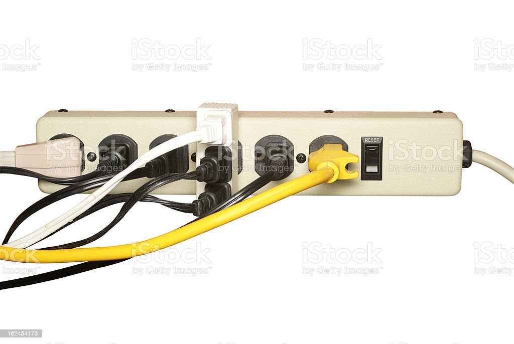 overloaded electrical extension bar royalty-free stock photo