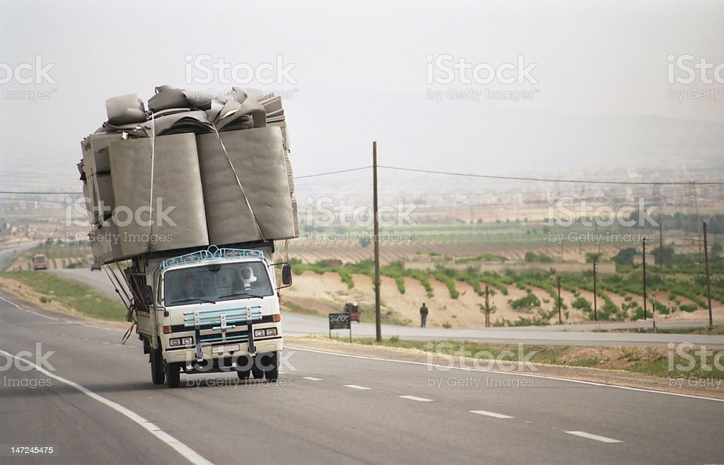 Overloaded lorry in Syria stock photo