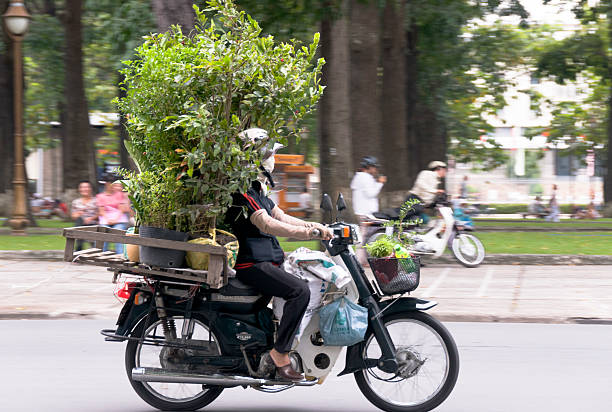 overloaded motorcycle in vietnam - motorbike, umbrella stock pictures, royalty-free photos & images