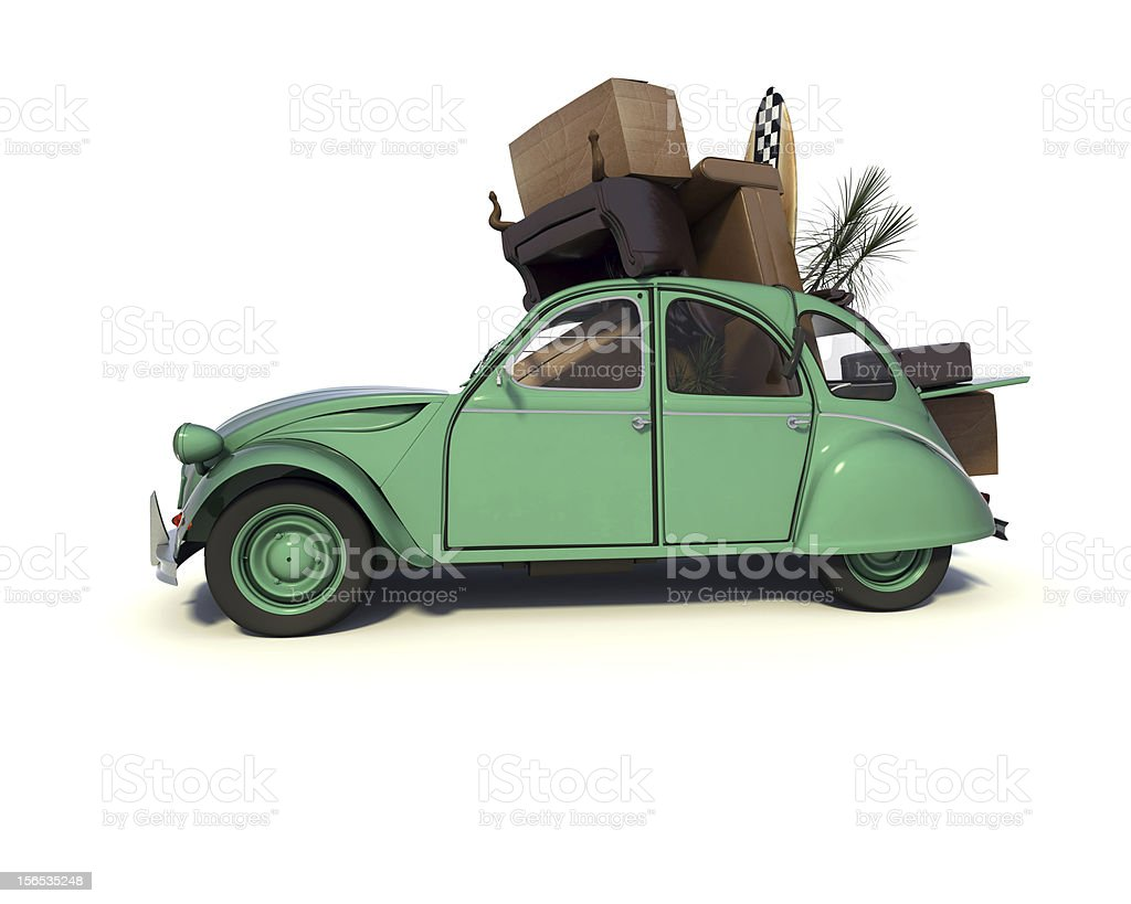 overloaded moving car stock photo